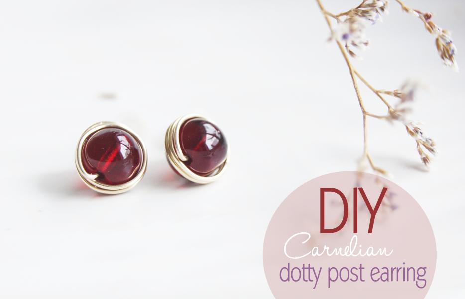 DIY // Carnelian Dotty Post earring