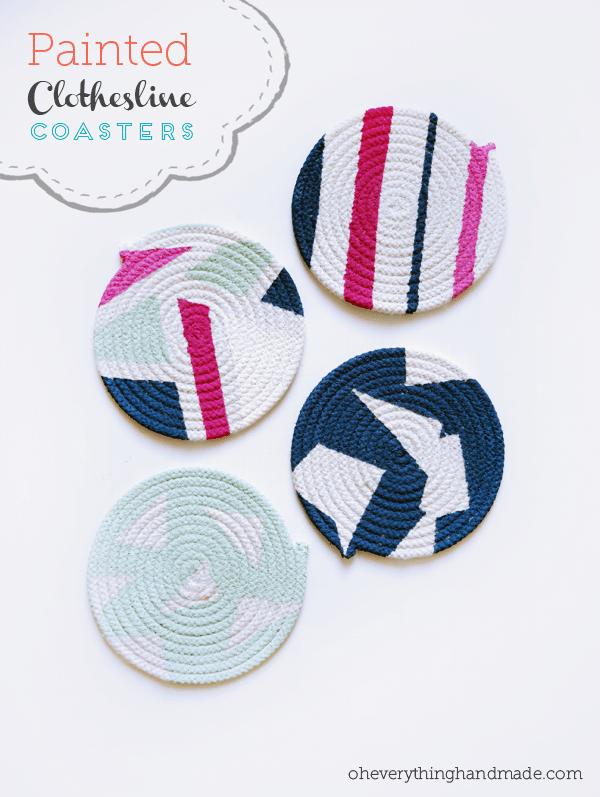 Diy Painted Clothesline Coasters Via Oh Everything Handmade