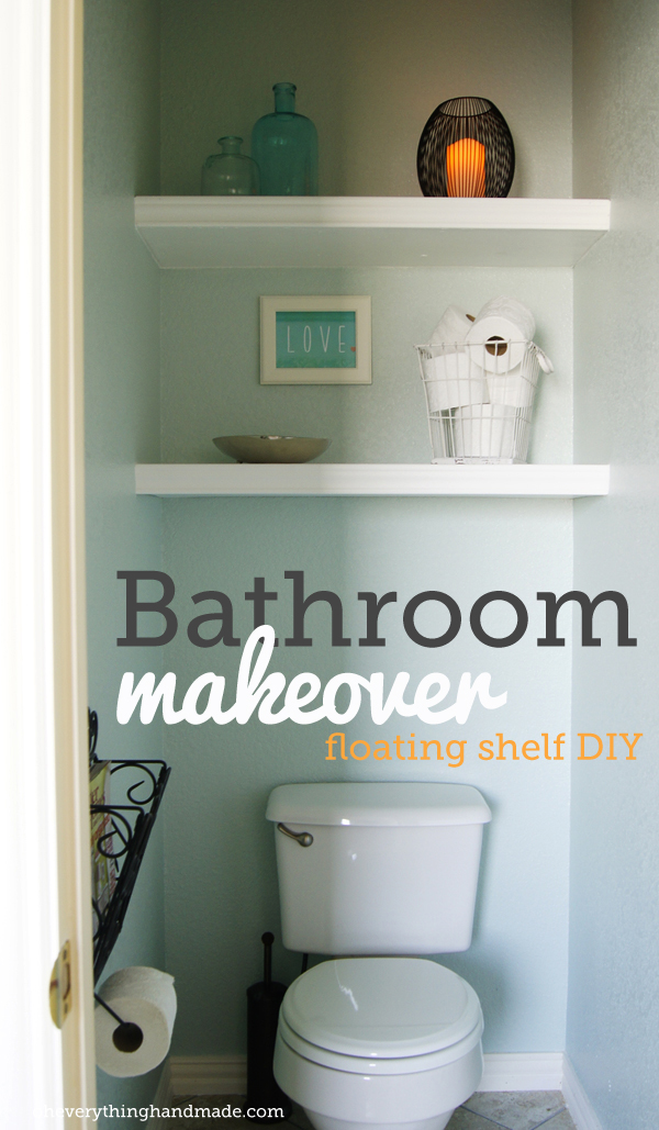 Diy bathroom makeover floating shelves for Diy bathroom storage shelves