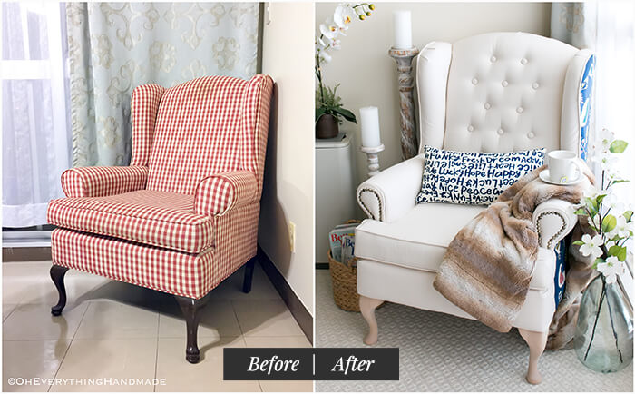 Farmhouse Style Wingback chair makeover by OhEverythingHandmade - Before and After